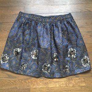 NWOT ZARA beaded gold and navy mini skirt size S